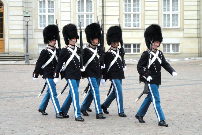 Changing of her Majesty's guard at Amalienborg Castle, Copenhagen, Denmark