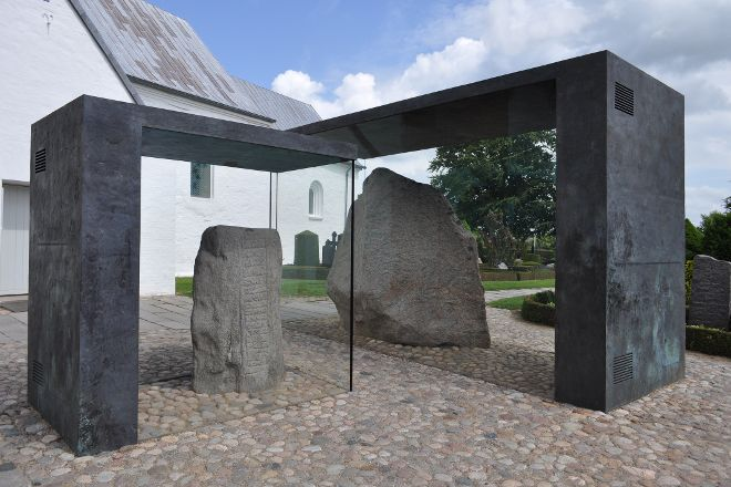 Jelling Mounds, Runic Stones and Church, Jelling, Denmark