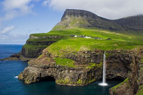 Mulafossur Waterfall, Vagar Island, Faroe Islands
