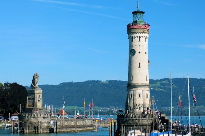 Lighthouse and Bavarian Lion Sculpture, Lindau, Germany