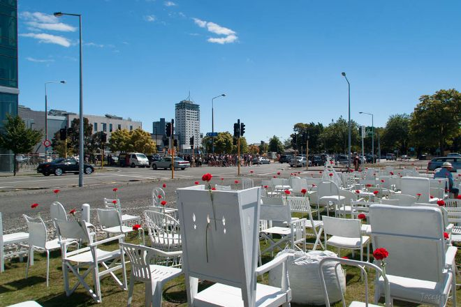 185 Empty White Chairs - Earthquake Memorial, Christchurch, New Zealand