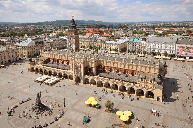 Krakow's Rynek Glowny Central Square, Krakow, Poland