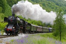 Steam Train on Bohinj Railway, Jesenice, Slovenia