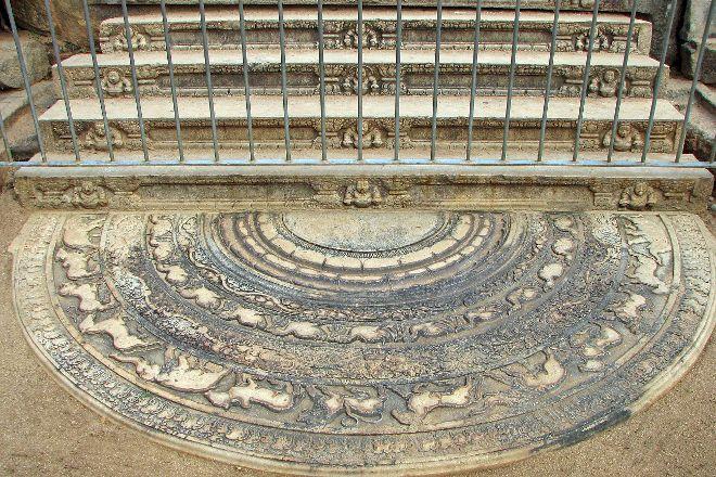 Moonstone or Sandakada pahana, Anuradhapura, Sri Lanka