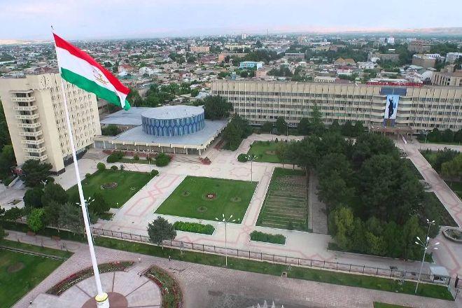 The Flagpole with the Flag of Tajikistan, Khujand, Tajikistan